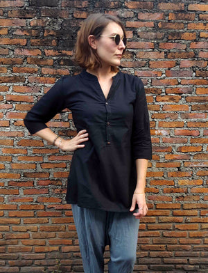 100% cotton womens Sunshine Kurta  3/4 sleeve top with mandarin collar and front buttons. Black.