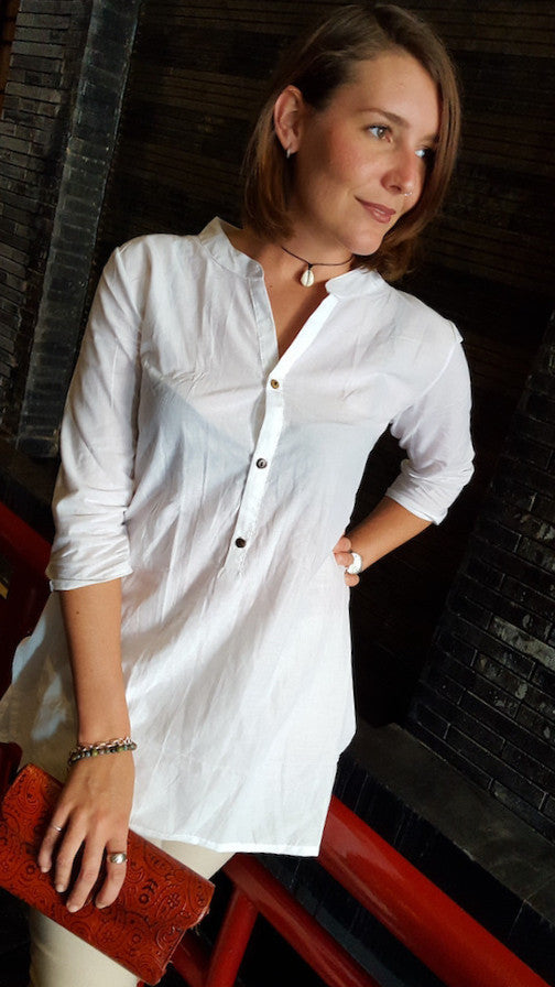 100% cotton womens Sunshine Kurta  3/4 sleeve top with mandarin collar and front buttons. White.