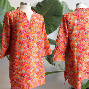Sunshine Women's Kurta Top - Sunset Sands Mosaic ethically handmade and produced from 100% quality cotton. Available in sizes S-XXXL.