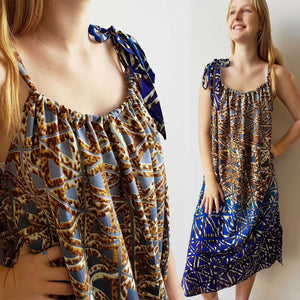 1b639262e3a6 Ethical + Handmade 'Take Me Away' Summer Dress - Blue & gold – KOBOMO