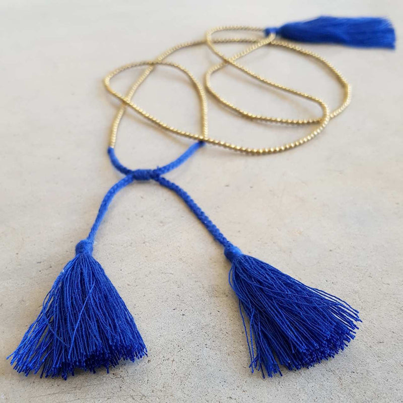 Cobalt Blue metallic bead necklace with tassel.