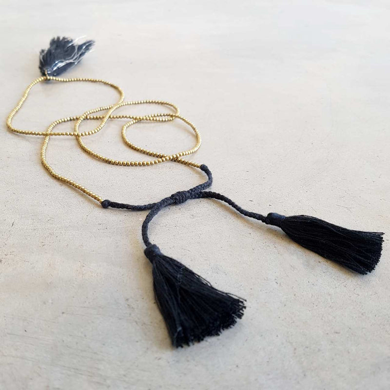 Black Gold and Silver metallic bead necklace with tassel.