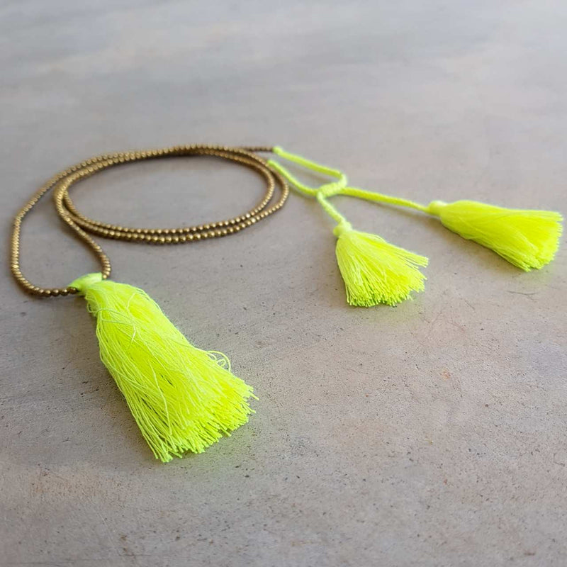 Neon metallic bead necklace with tassel.