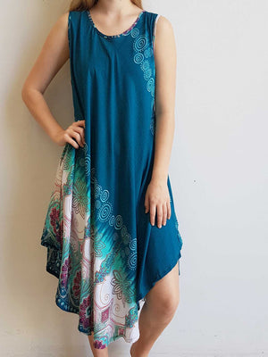 Ladies below the knee scalloped hem sleeveless summer dress. Plus size fitting - Teal green