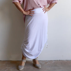 Temple Maxi Skirt with adjustable drawstring length for summer or winter fashions. White.