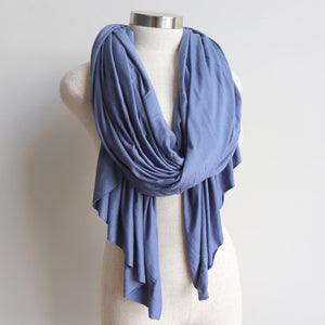 Acrobat Scarf Wrap winter accessory made with stretch cotton. Pigeon Blue.