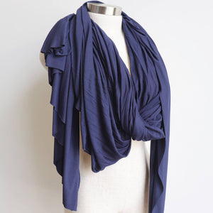 Acrobat Scarf Wrap winter accessory made with stretch cotton. Navy Blue.