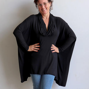 Our Glider Poncho Tee made in bamboo is a cowl neck plus size winter kaftan top. Black