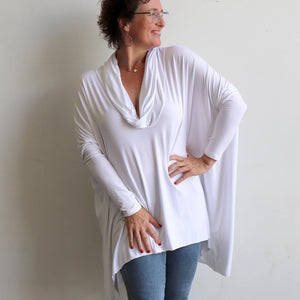Our Glider Poncho Tee made in bamboo is a cowl neck plus size winter kaftan top. White.