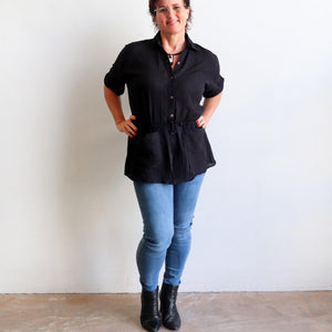 Come on a Safari with me! Classic summer short-sleeved, button-through blouse in 100% cotton. Black. Full length view/