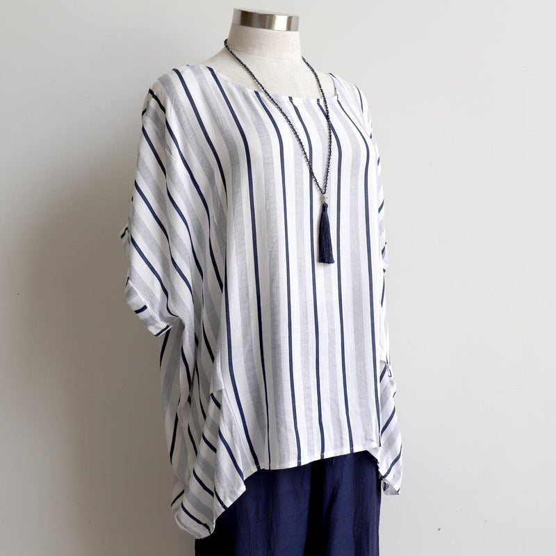 Linen/Cotton blend stripe blouse in relaxed, oversized design from our Coastal Collection. Navy.
