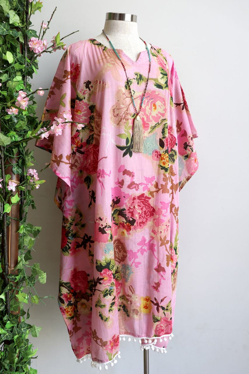 Cotton beach kaftan dress in vintage mint pink floral print. Beautiful over swimwear for plus sizes and as a beach holiday cover-up. Pink.