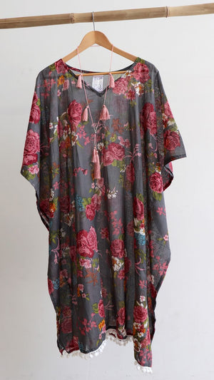 d2bf052581e Easy Fit Cotton Beach Kaftan in Vintage Floral | Regular + Plus Size ...