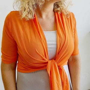 The chicago stretch mesh ballet wrap cardigan jacket + plus size available. Orange.