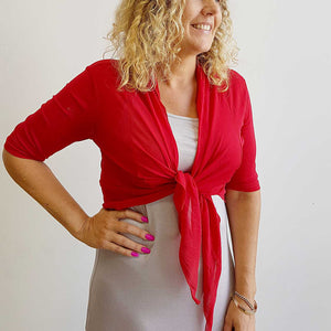 The chicago stretch mesh ballet wrap cardigan jacket + plus size available. Red.