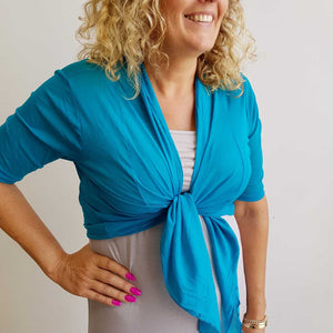 The chicago stretch mesh ballet wrap cardigan jacket + plus size available. Teal Blue