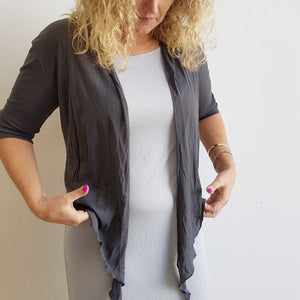 The chicago stretch mesh ballet wrap cardigan jacket + plus size available. Charcoal Grey.