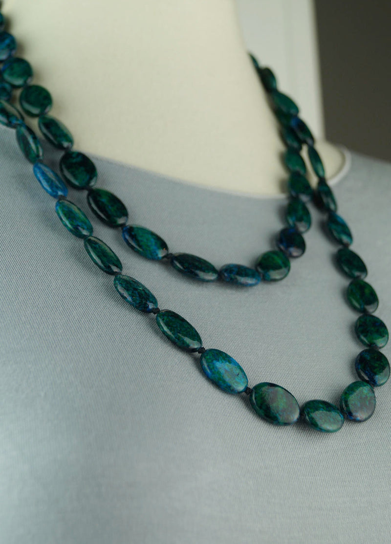 'The Elements' stone bead hand-knotted necklace in deep sea green