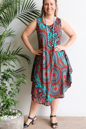 Ladies below the knee scalloped hem sleeveless summer dress. Plus size fitting - Turquoise orange