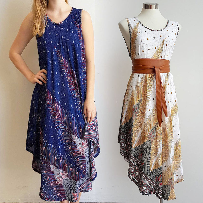 Onesize, softly draping bias cut rayon sleeveless Summer dress in feather print. Available in white, brown, teal green, khaki green, navy blue, black + red - fits sizes small - extra large.
