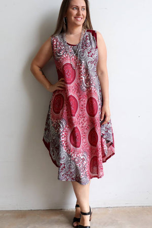 Ladies below the knee scalloped hem sleeveless summer dress. Plus size fitting - Burgundy red