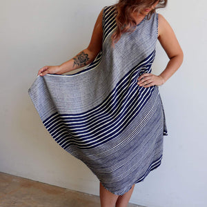 4b24c4036a88 Free flowing summer dress in navy blue stripe fits up to plus size.
