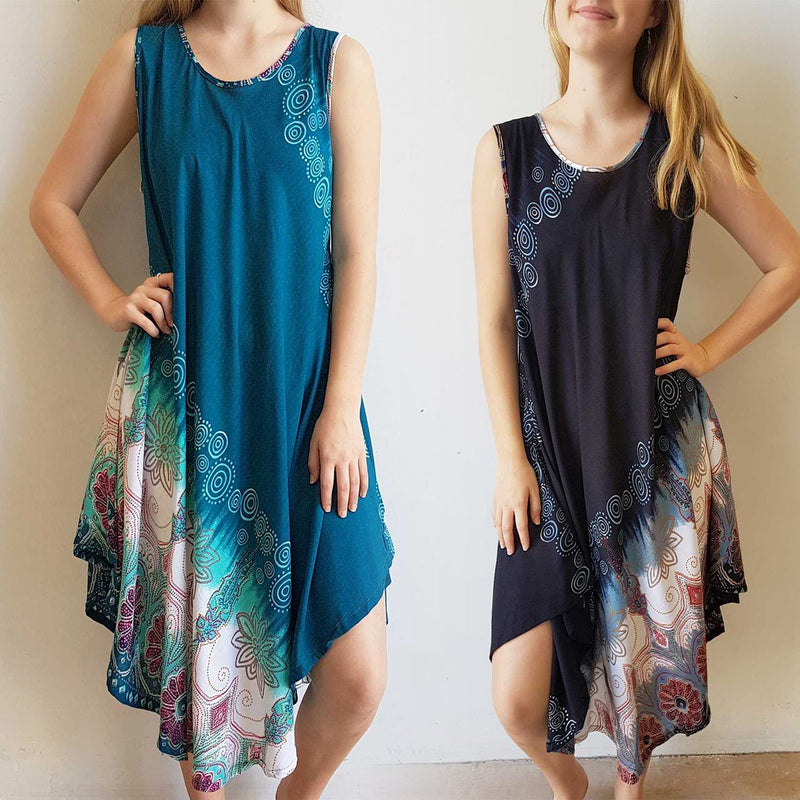 Ladies below the knee scalloped hem sleeveless summer dress. Plus size fitting - Teal green, Navy blue
