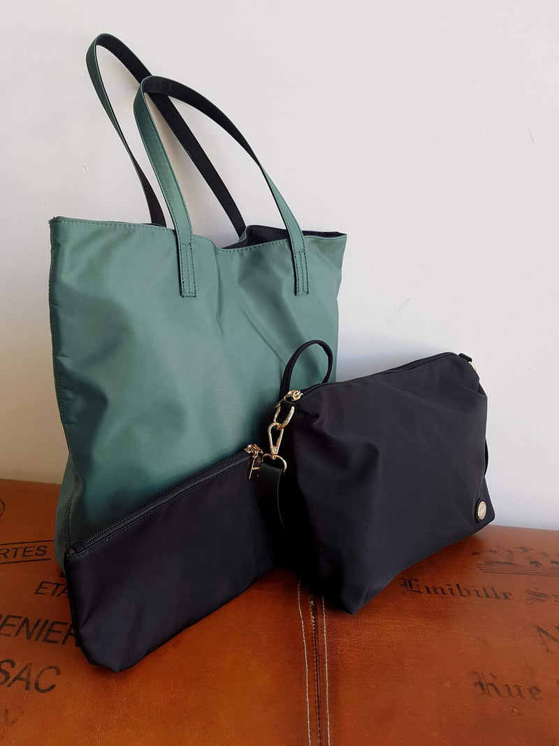 Voyager Tote Handbag Clutch - 3 Piece Set - Nylon. Forest Green