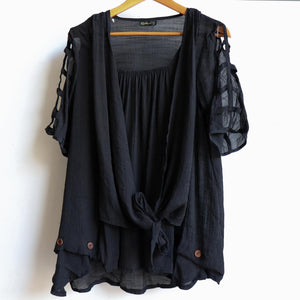 Lightweight, floaty summer tunic top with double layer draping front. Black.