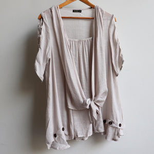 Lightweight, floaty summer tunic top with double layer draping front. Moonshine.