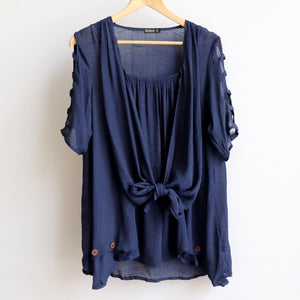 Lightweight, floaty summer tunic top with double layer draping front. Navy Blue.