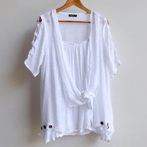 Lightweight, floaty summer tunic top with double layer draping front. White.