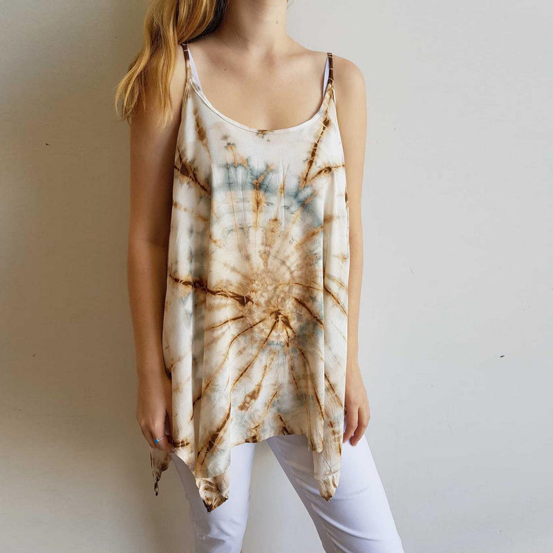 Super lightweight + soft, free-flowing tie-dye Summer singlet  with simple scoop neck.