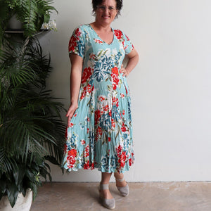 Today Not Someday Midi Dress - Aqua Blue Rose