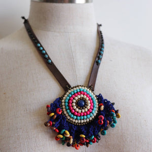 Tribal Pendant Leather + Crochet Necklace