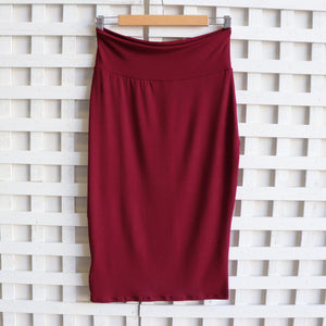 Tube Skirt in Bamboo - a classic stretch pencil style, high-waisted with a below-the-knee hemline. Sangria Red.