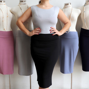 Stretch tube pencil skirt with fold-over waistband in a variety of stylish colours.
