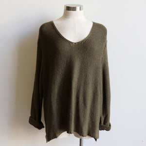 Oversize knit jumper with V-neck and boxy shape knit top perfect for weekend casual women's wear - khaki green.