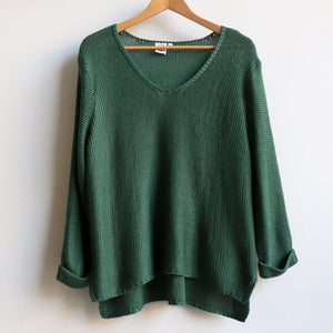 Oversize knit jumper with V-neck and boxy shape knit top perfect for weekend casual women's wear - Sage Green.