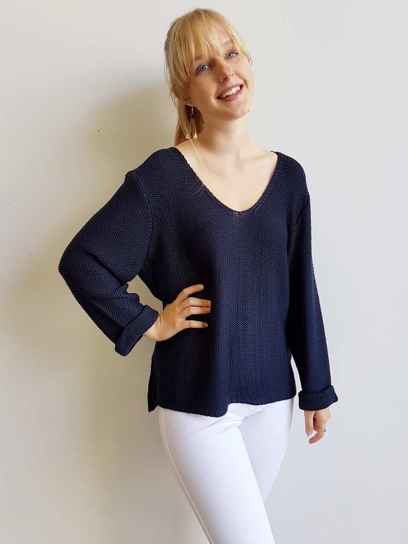 Oversize knit jumper with V-neck and boxy shape knit top perfect for weekend casual women's wear  navy blue