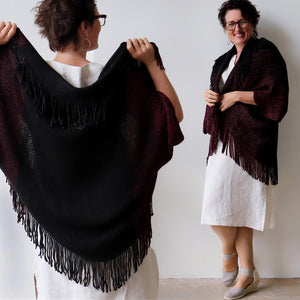 Open-front style tasselled Cardigan. One-size fit winter knit shrug. Black.