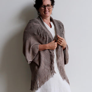 Open-front style tasselled Cardigan. One-size fit winter knit shrug. Mocha