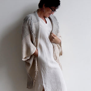 Open-front style tasselled Cardigan. One-size fit winter knit shrug. Natural.