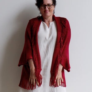Open-front style tasselled Cardigan. One-size fit winter knit shrug. Red.