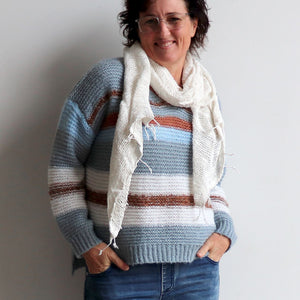 Valley V-neck Knit Jumper is a soft mohair-feel winter sweater made with cotton. Denim blue with handwoven scarf.