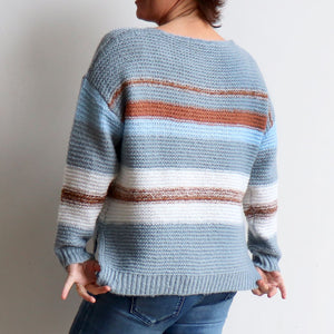 Valley V-neck Knit Jumper is a soft mohair-feel winter sweater made with cotton. Denim blue. Back view.