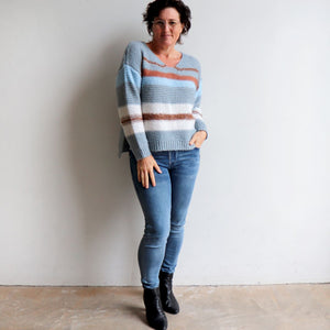 Valley V-neck Knit Jumper is a soft mohair-feel winter sweater made with cotton. Denim blue. Full length view.
