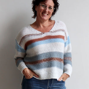 Valley V-neck Knit Jumper is a soft mohair-feel winter sweater made with cotton