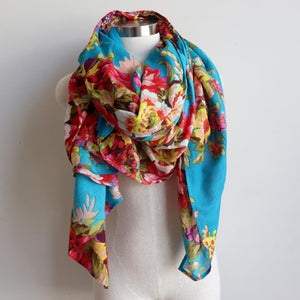 Vintage Floral Scarf is a handmade 100% cotton retro print accessory or sarong wrap. Aqua Blue.