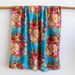 Vintage Floral Scarf is a handmade 100% cotton retro print accessory or sarong wrap. Aqua Blue. Full view.